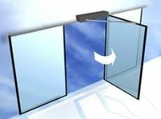 דלת אוטומטית - כנף על ציר